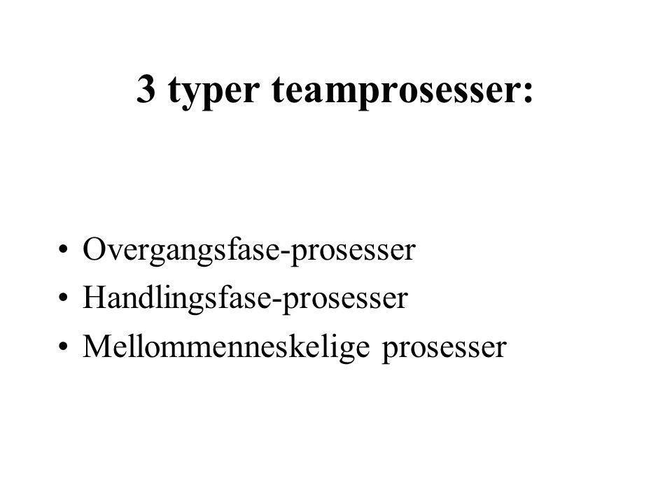 3 typer teamprosesser: Overgangsfase-prosesser Handlingsfase-prosesser Mellommenneskelige prosesser
