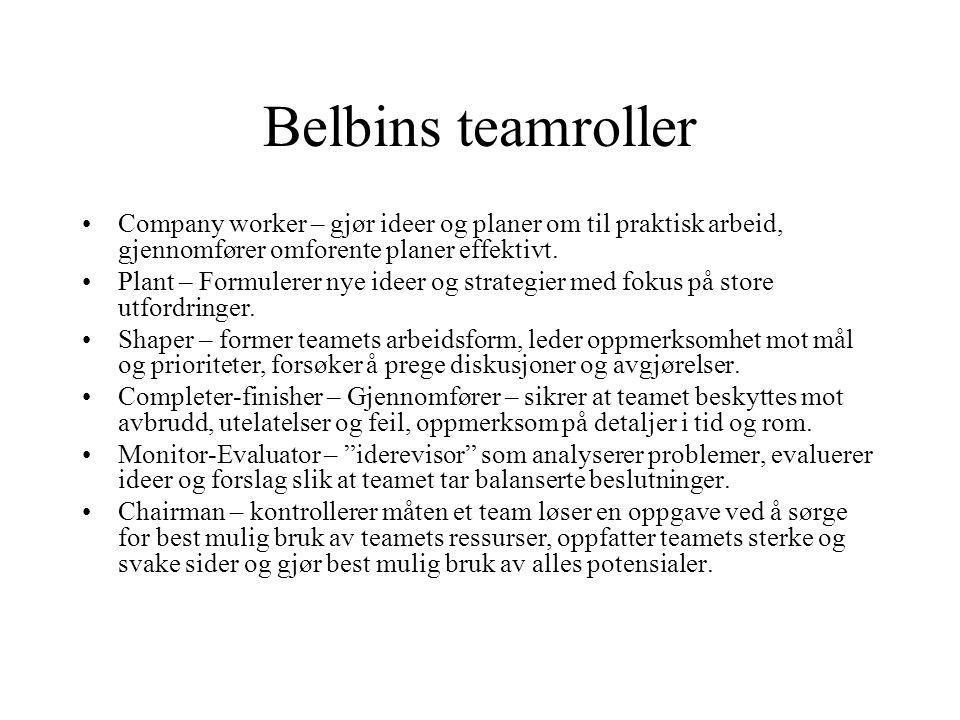 Belbins teamroller Company worker – gjør ideer og planer om til praktisk arbeid, gjennomfører omforente planer effektivt. Plant – Formulerer nye ideer