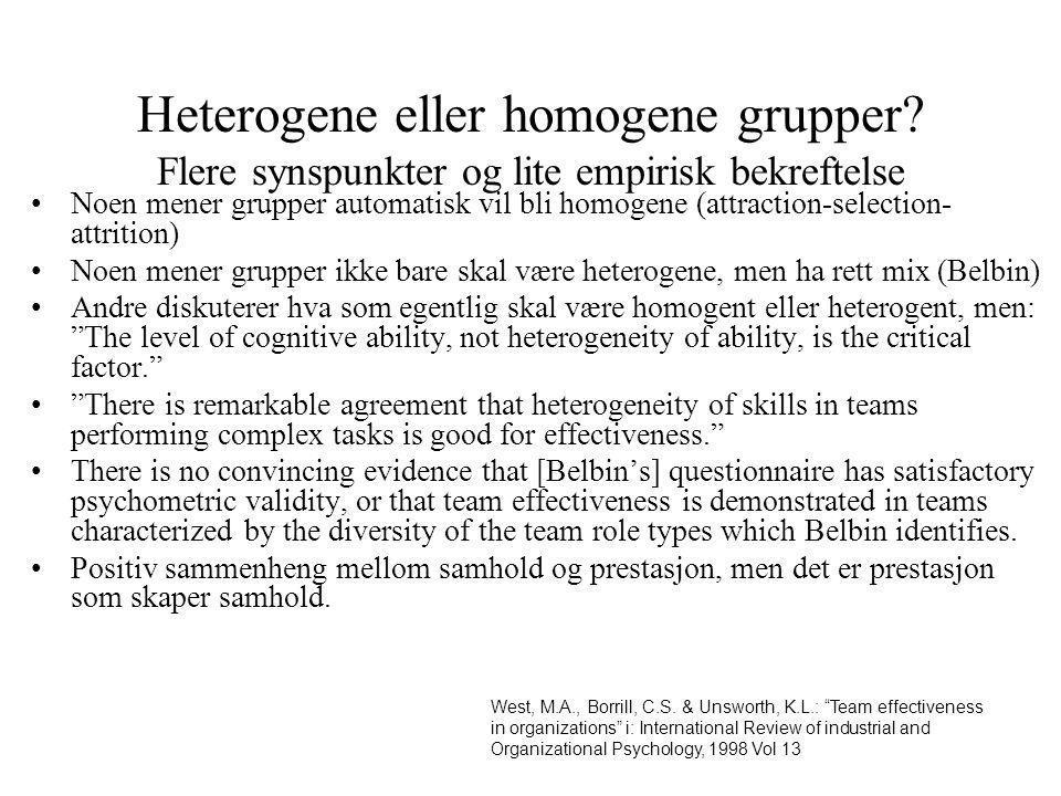 Heterogene eller homogene grupper? Flere synspunkter og lite empirisk bekreftelse Noen mener grupper automatisk vil bli homogene (attraction-selection