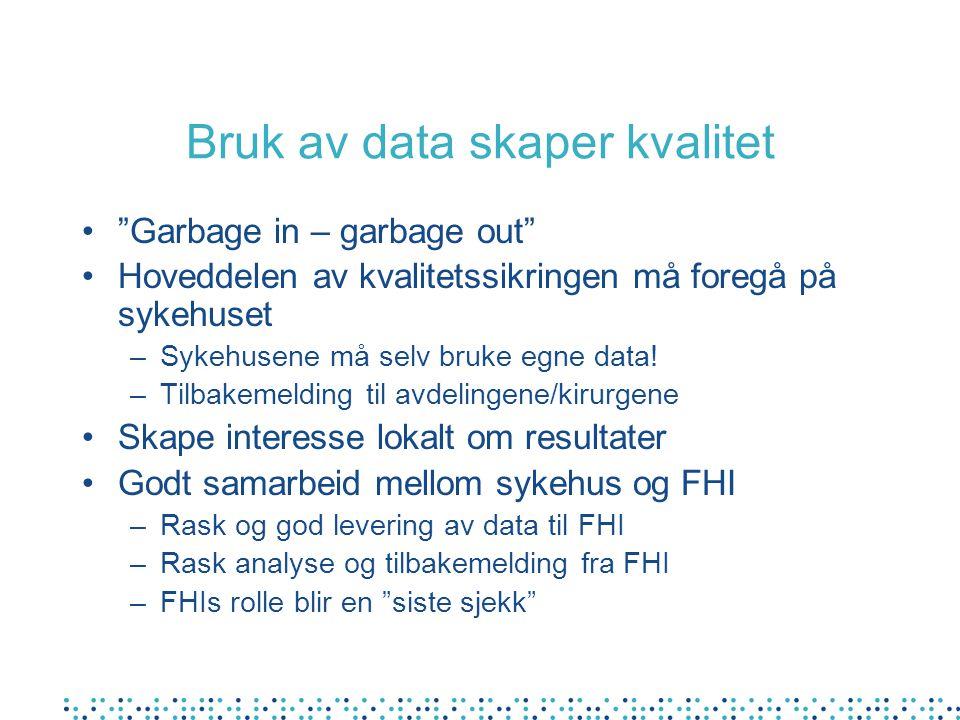 """Bruk av data skaper kvalitet """"Garbage in – garbage out"""" Hoveddelen av kvalitetssikringen må foregå på sykehuset –Sykehusene må selv bruke egne data! –"""