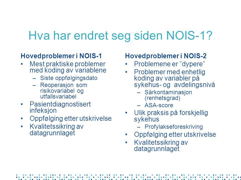 Hva har endret seg siden NOIS-1? Hovedproblemer i NOIS-1 Mest praktiske problemer med koding av variablene –Siste oppfølgingsdato –Reoperasjon som ris