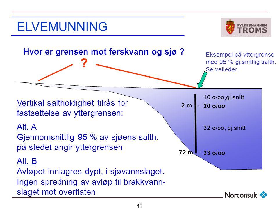 11 ELVEMUNNING Vertikal saltholdighet tilrås for fastsettelse av yttergrensen: Alt. A Gjennomsnittlig 95 % av sjøens salth. på stedet angir yttergrens