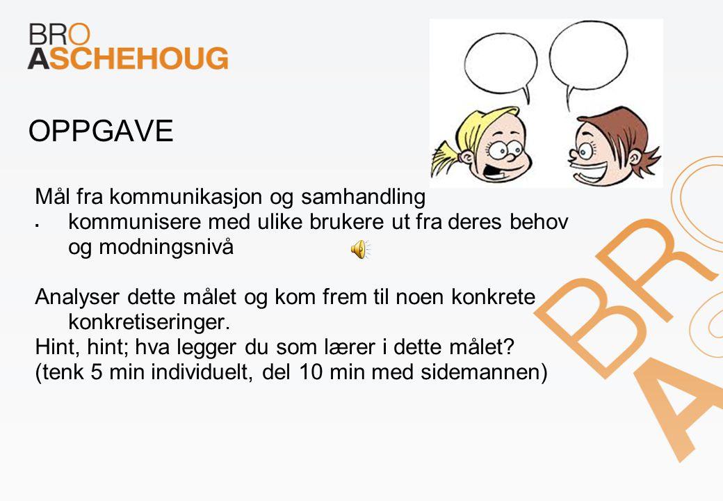 OPPGAVE Mål fra kommunikasjon og samhandling  kommunisere med ulike brukere ut fra deres behov og modningsnivå Analyser dette målet og kom frem til noen konkrete konkretiseringer.