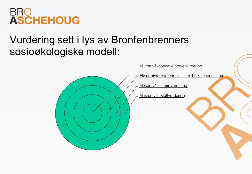 Vurdering sett i lys av Bronfenbrenners sosioøkologiske modell: Mikronivå- oppgave/prøve vurdering Eksonnivå - vurdering etter en bolk/periode/tema Mesonivå - terminvurdering Makronivå - sluttvurdering