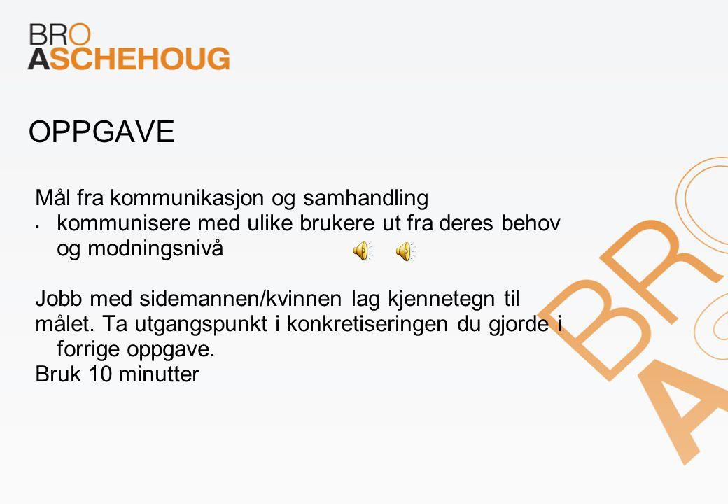 OPPGAVE Mål fra kommunikasjon og samhandling  kommunisere med ulike brukere ut fra deres behov og modningsnivå Jobb med sidemannen/kvinnen lag kjennetegn til målet.