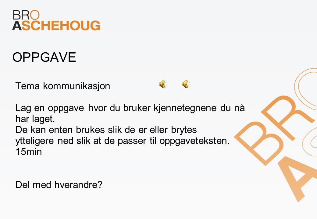 OPPGAVE Tema kommunikasjon Lag en oppgave hvor du bruker kjennetegnene du nå har laget.