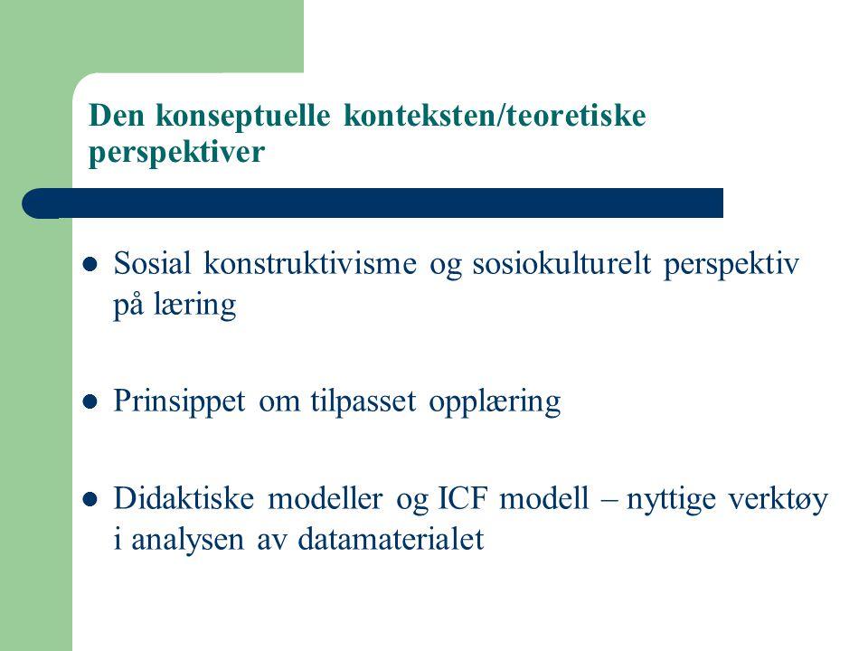 Den konseptuelle konteksten/teoretiske perspektiver Sosial konstruktivisme og sosiokulturelt perspektiv på læring Prinsippet om tilpasset opplæring Di