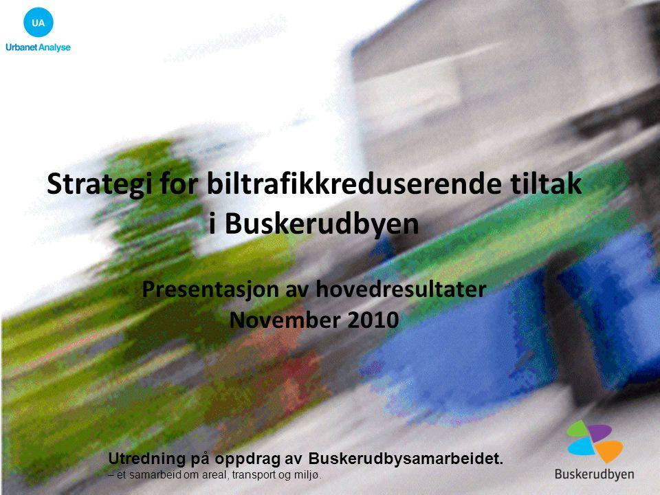 Resultater (1): Endring i antall bil og kollektivreiser Prosent endring i antall kollektiv- og bilreiser med ulike scenarier for virkemiddelbruk i Buskerudbyen.