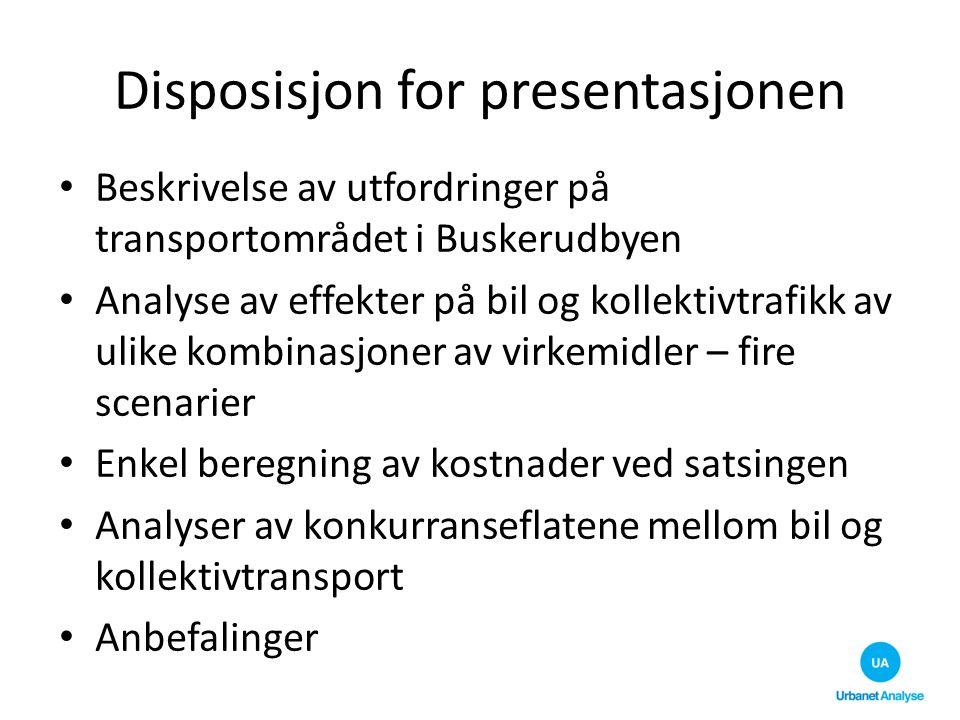 Disposisjon for presentasjonen Beskrivelse av utfordringer på transportområdet i Buskerudbyen Analyse av effekter på bil og kollektivtrafikk av ulike
