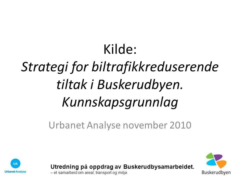 Kilde: Strategi for biltrafikkreduserende tiltak i Buskerudbyen. Kunnskapsgrunnlag Urbanet Analyse november 2010 Utredning på oppdrag av Buskerudbysam