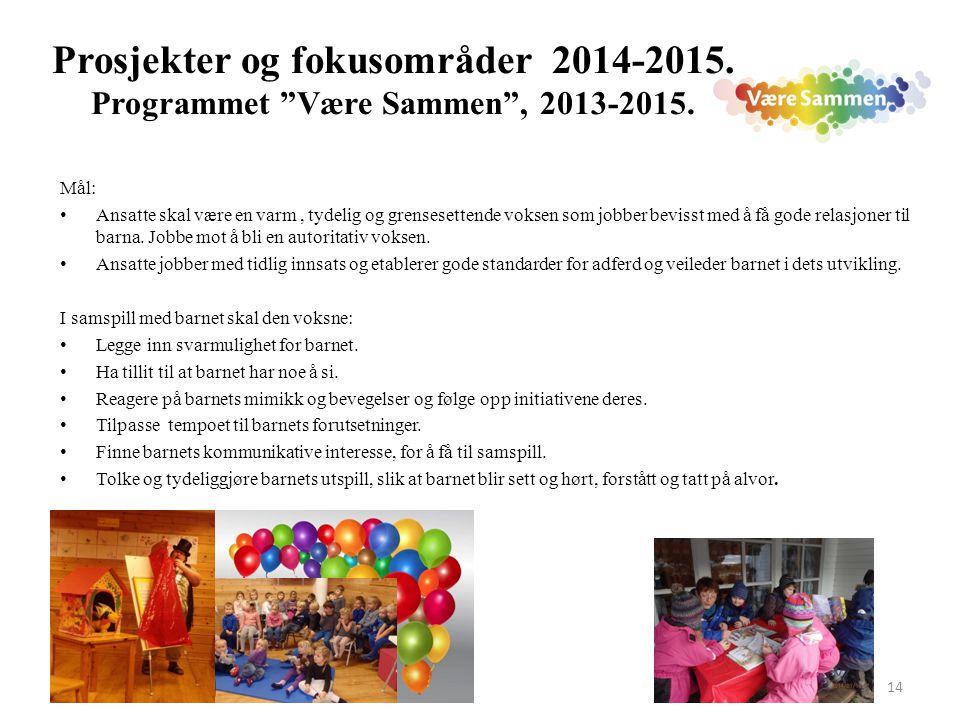"""14 Prosjekter og fokusområder 2014-2015. Programmet """"Være Sammen"""", 2013-2015. Mål: Ansatte skal være en varm, tydelig og grensesettende voksen som job"""
