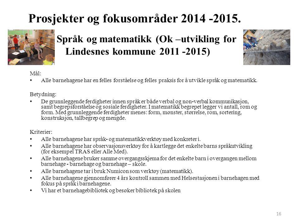 16 Prosjekter og fokusområder 2014 -2015. Språk og matematikk (Ok –utvikling for Lindesnes kommune 2011 -2015) Mål: Alle barnehagene har en felles for