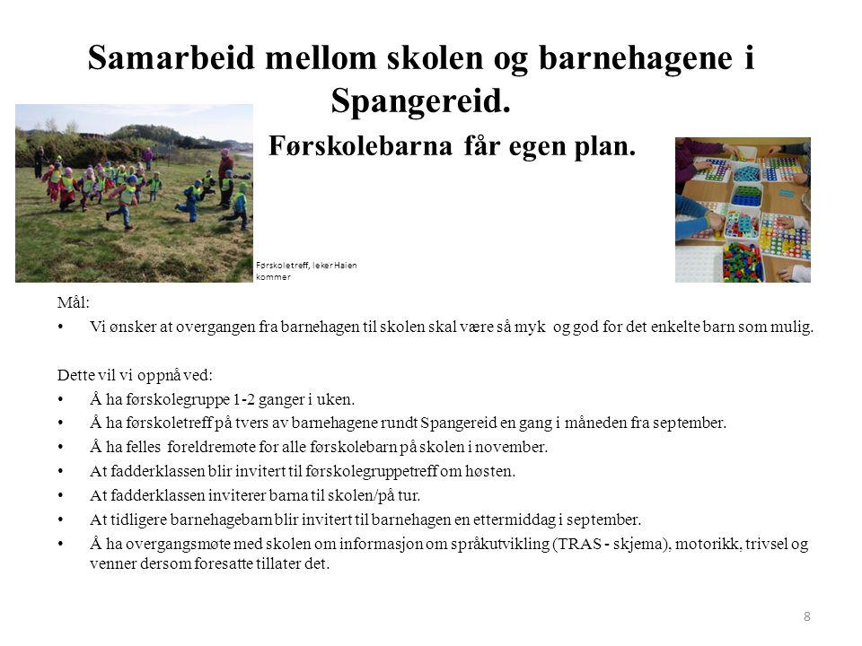 Samarbeid mellom skolen og barnehagene i Spangereid. Førskolebarna får egen plan. 8 Mål: Vi ønsker at overgangen fra barnehagen til skolen skal være s