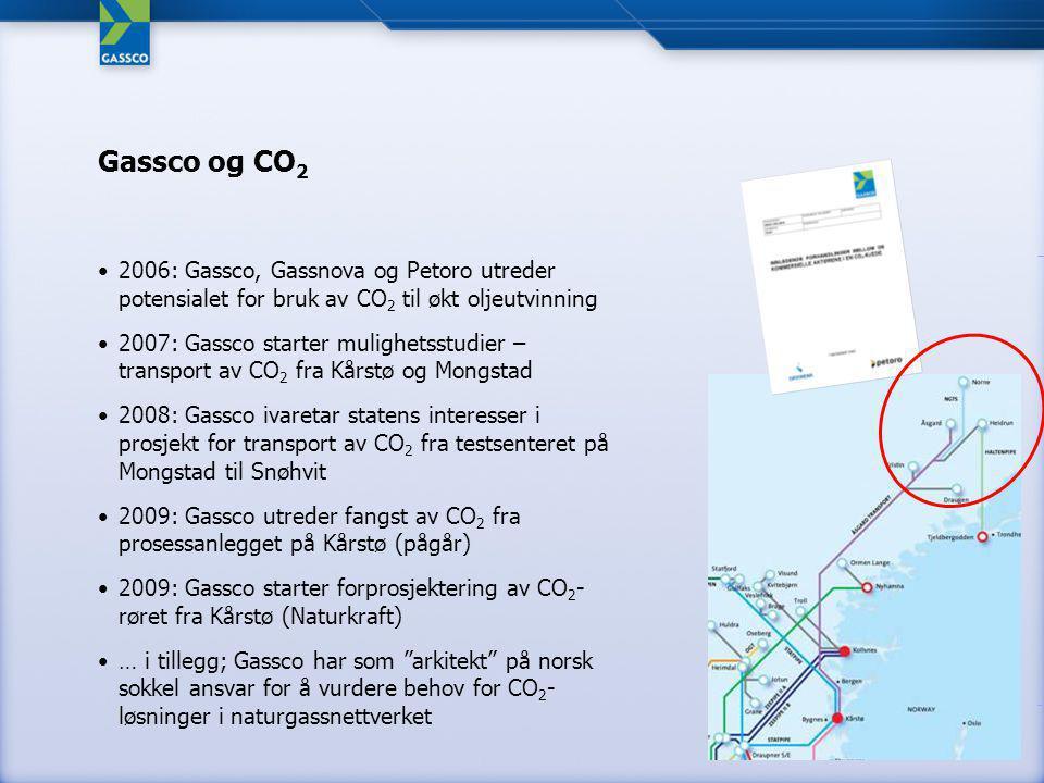 2006: Gassco, Gassnova og Petoro utreder potensialet for bruk av CO 2 til økt oljeutvinning 2007: Gassco starter mulighetsstudier – transport av CO 2 fra Kårstø og Mongstad 2008: Gassco ivaretar statens interesser i prosjekt for transport av CO 2 fra testsenteret på Mongstad til Snøhvit 2009: Gassco utreder fangst av CO 2 fra prosessanlegget på Kårstø (pågår) 2009: Gassco starter forprosjektering av CO 2 - røret fra Kårstø (Naturkraft) … i tillegg; Gassco har som arkitekt på norsk sokkel ansvar for å vurdere behov for CO 2 - løsninger i naturgassnettverket Gassco og CO 2