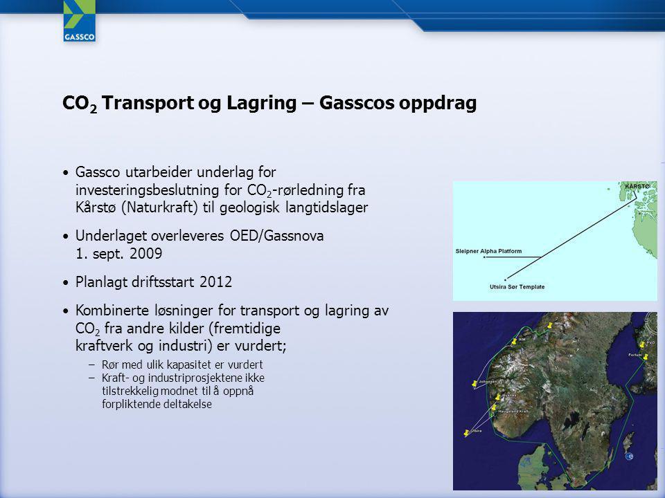 Gassco utarbeider underlag for investeringsbeslutning for CO 2 -rørledning fra Kårstø (Naturkraft) til geologisk langtidslager Underlaget overleveres OED/Gassnova 1.