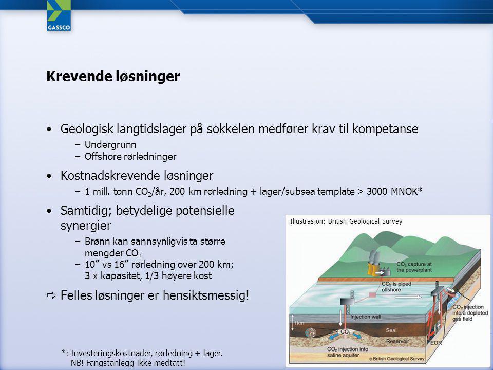 Krevende løsninger Geologisk langtidslager på sokkelen medfører krav til kompetanse –Undergrunn –Offshore rørledninger Kostnadskrevende løsninger –1 mill.