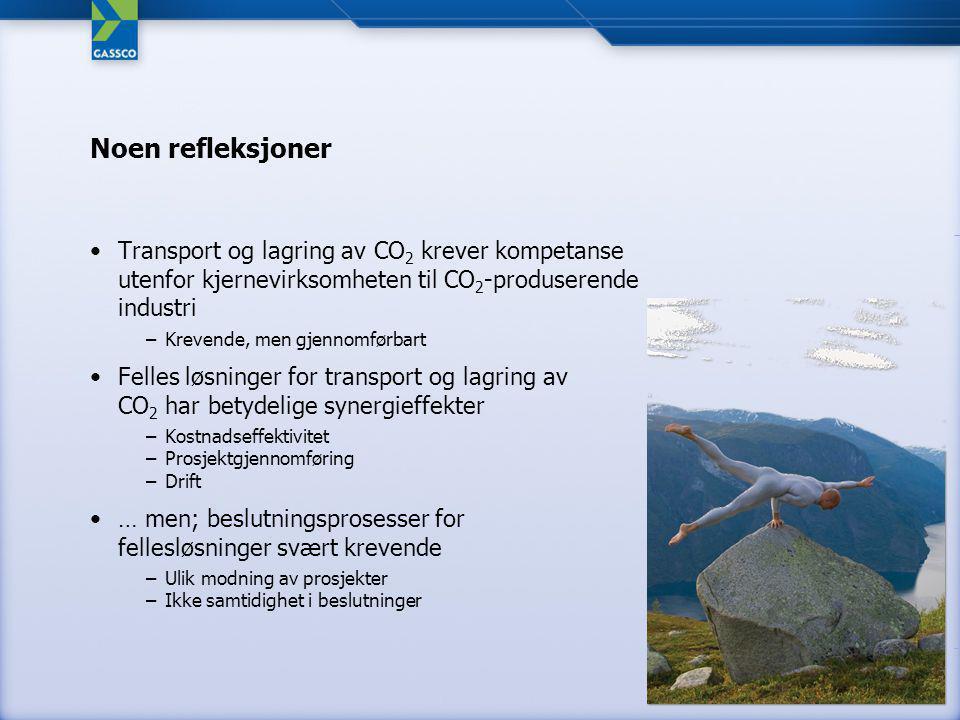 Noen refleksjoner Transport og lagring av CO 2 krever kompetanse utenfor kjernevirksomheten til CO 2 -produserende industri –Krevende, men gjennomførbart Felles løsninger for transport og lagring av CO 2 har betydelige synergieffekter –Kostnadseffektivitet –Prosjektgjennomføring –Drift … men; beslutningsprosesser for fellesløsninger svært krevende –Ulik modning av prosjekter –Ikke samtidighet i beslutninger
