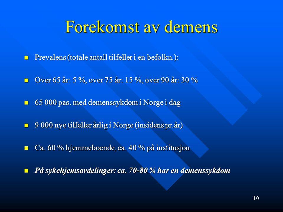 """Ulike demenssykdommer DEGENERATIV LIDELSE (noe som """"brytes ned"""") DEGENERATIV LIDELSE (noe som """"brytes ned"""") –ALZHEIMER –FRONTOTEMPORAL –PARKINSON/HUNT"""
