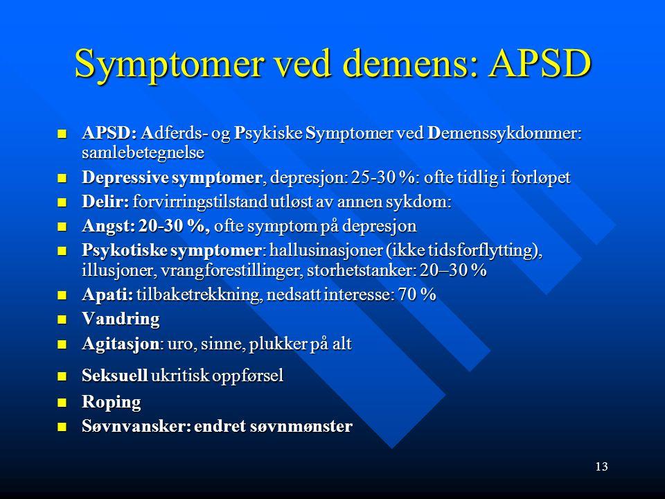 Diagnosekriterier og symptomer ved demens Demensdefinisjon etter ICD-10 Demensdefinisjon etter ICD-10 1.Svekket hukommelse og minst en av følgende kog