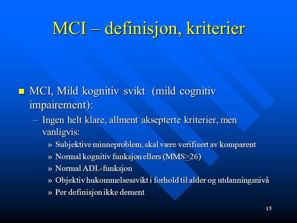MCI – Mild kognitiv svikt Lett hukommelsessvikt Kun svekket hukommelse er ikke demens Kun svekket hukommelse er ikke demens Mild kognitiv svikt (Mild