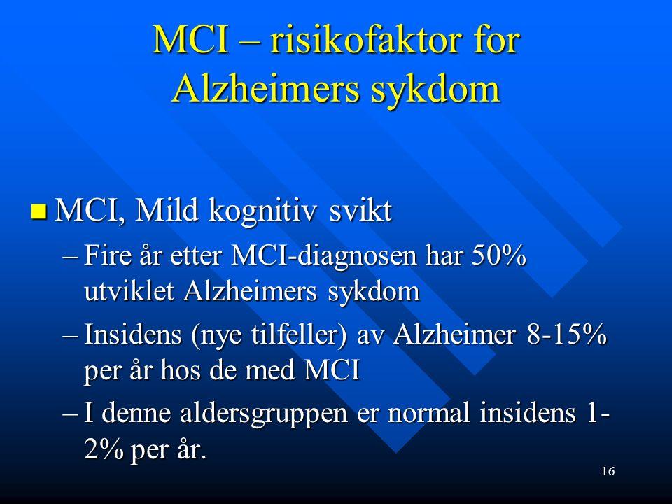 MCI – definisjon, kriterier MCI, Mild kognitiv svikt (mild cognitiv impairement): MCI, Mild kognitiv svikt (mild cognitiv impairement): –Ingen helt kl