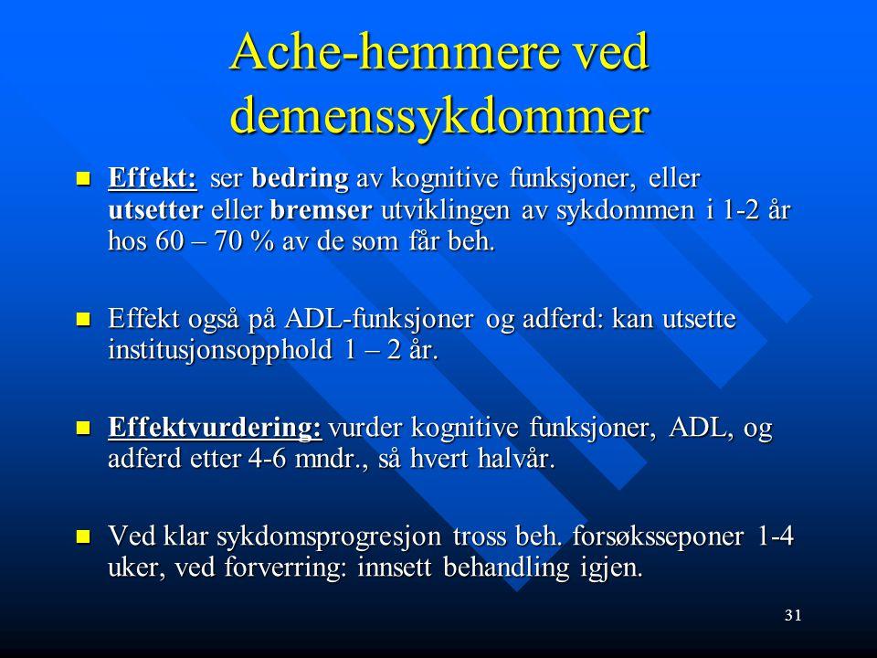 Ache-hemmere ved demenssykdommer Virkestoff: acetyl-kolin-esterasehemmere (Aricept, Exelon og Reminyl) Virkestoff: acetyl-kolin-esterasehemmere (Arice