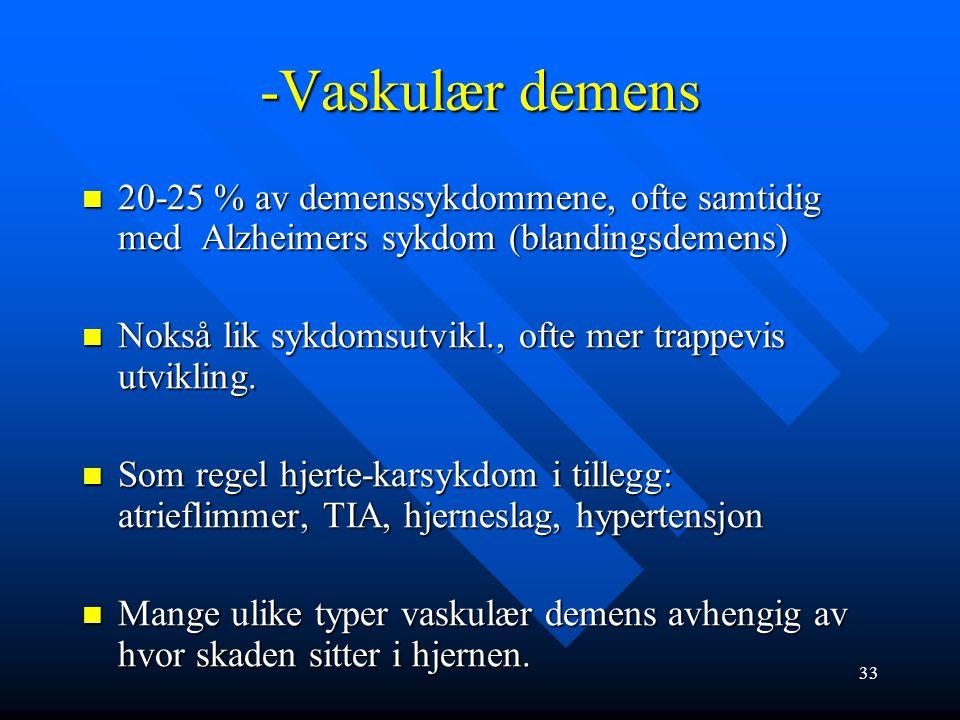 NMDA –reseptor antagonist Indikasjon: moderat til alvorlig demens v både Alzheimers sykdom og vaskulær demens (MMS under 12) Indikasjon: moderat til a