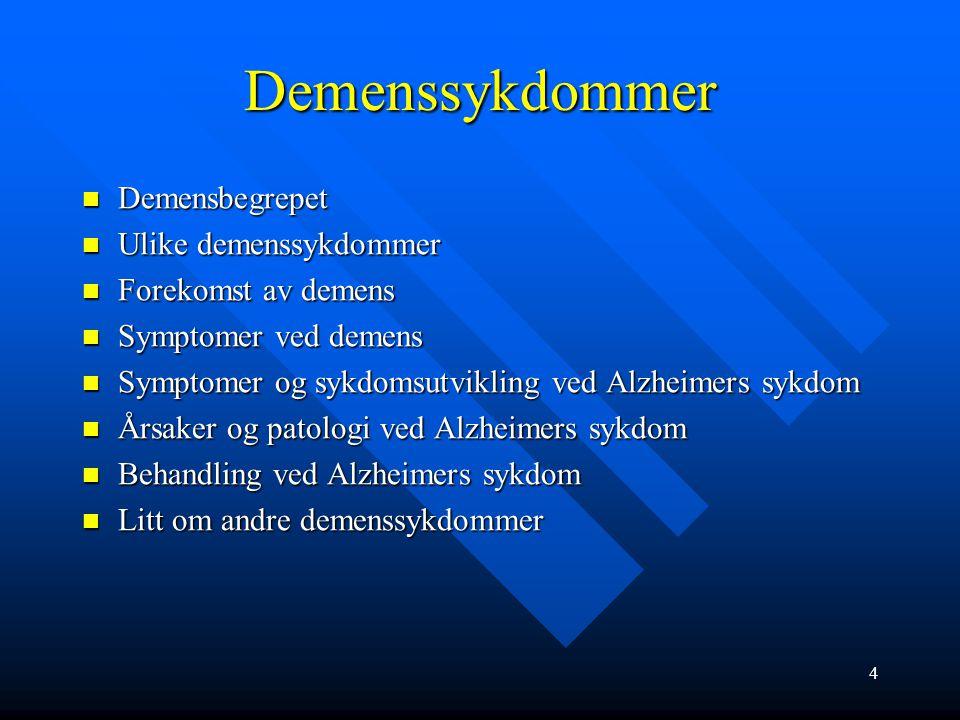 Demenssykdommer Demensbegrepet Demensbegrepet Ulike demenssykdommer Ulike demenssykdommer Forekomst av demens Forekomst av demens Symptomer ved demens Symptomer ved demens Symptomer og sykdomsutvikling ved Alzheimers sykdom Symptomer og sykdomsutvikling ved Alzheimers sykdom Årsaker og patologi ved Alzheimers sykdom Årsaker og patologi ved Alzheimers sykdom Behandling ved Alzheimers sykdom Behandling ved Alzheimers sykdom Litt om andre demenssykdommer Litt om andre demenssykdommer 4