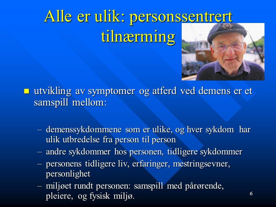 MCI – risikofaktor for Alzheimers sykdom MCI, Mild kognitiv svikt MCI, Mild kognitiv svikt –Fire år etter MCI-diagnosen har 50% utviklet Alzheimers sykdom –Insidens (nye tilfeller) av Alzheimer 8-15% per år hos de med MCI –I denne aldersgruppen er normal insidens 1- 2% per år.
