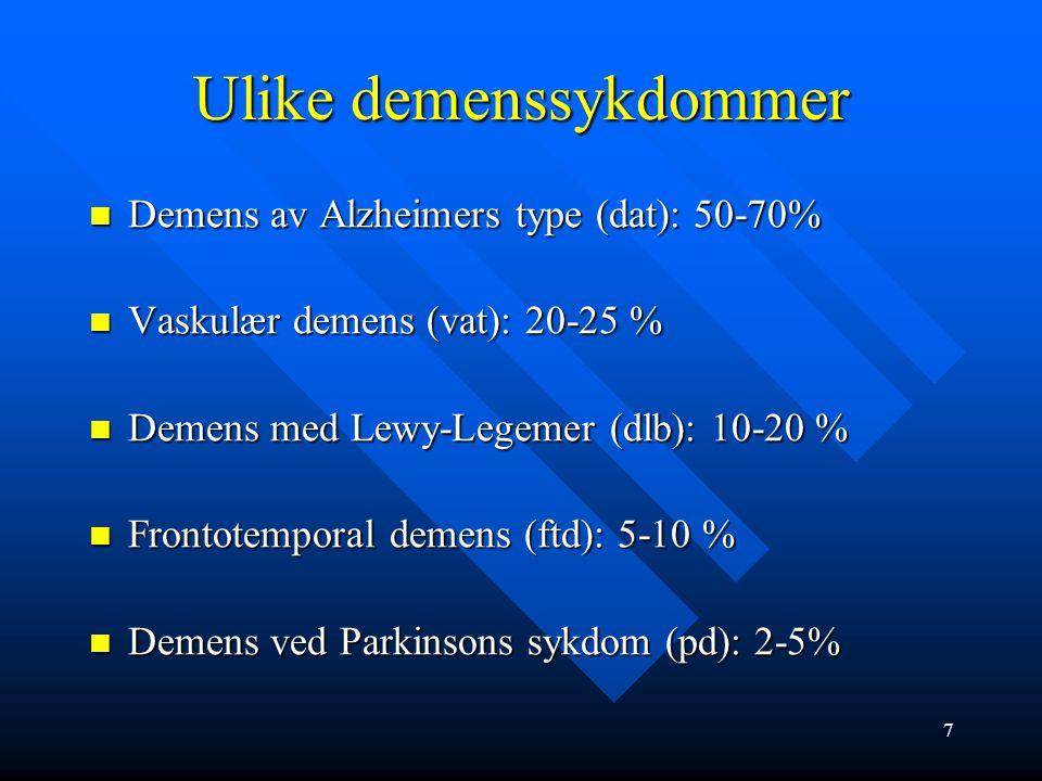Ulike demenssykdommer Demens av Alzheimers type (dat): 50-70% Demens av Alzheimers type (dat): 50-70% Vaskulær demens (vat): 20-25 % Vaskulær demens (vat): 20-25 % Demens med Lewy-Legemer (dlb): 10-20 % Demens med Lewy-Legemer (dlb): 10-20 % Frontotemporal demens (ftd): 5-10 % Frontotemporal demens (ftd): 5-10 % Demens ved Parkinsons sykdom (pd): 2-5% Demens ved Parkinsons sykdom (pd): 2-5% 7