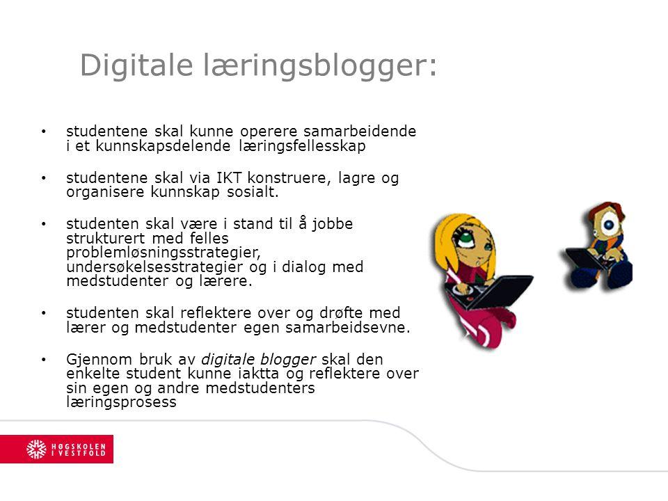 Digitale læringsblogger: studentene skal kunne operere samarbeidende i et kunnskapsdelende læringsfellesskap studentene skal via IKT konstruere, lagre