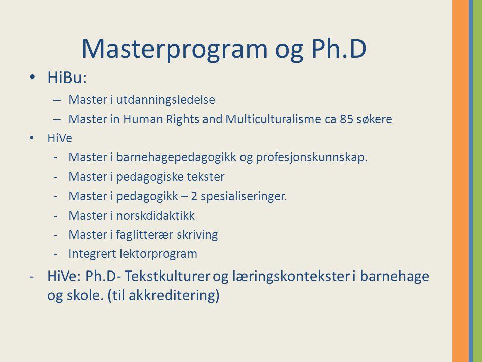 Masterprogram og Ph.D HiBu: – Master i utdanningsledelse – Master in Human Rights and Multiculturalisme ca 85 søkere HiVe -Master i barnehagepedagogikk og profesjonskunnskap.