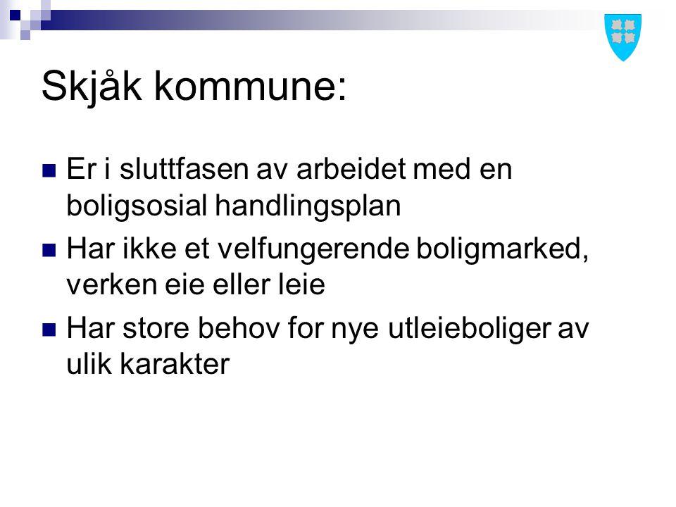 Skjåk kommune: Er i sluttfasen av arbeidet med en boligsosial handlingsplan Har ikke et velfungerende boligmarked, verken eie eller leie Har store beh