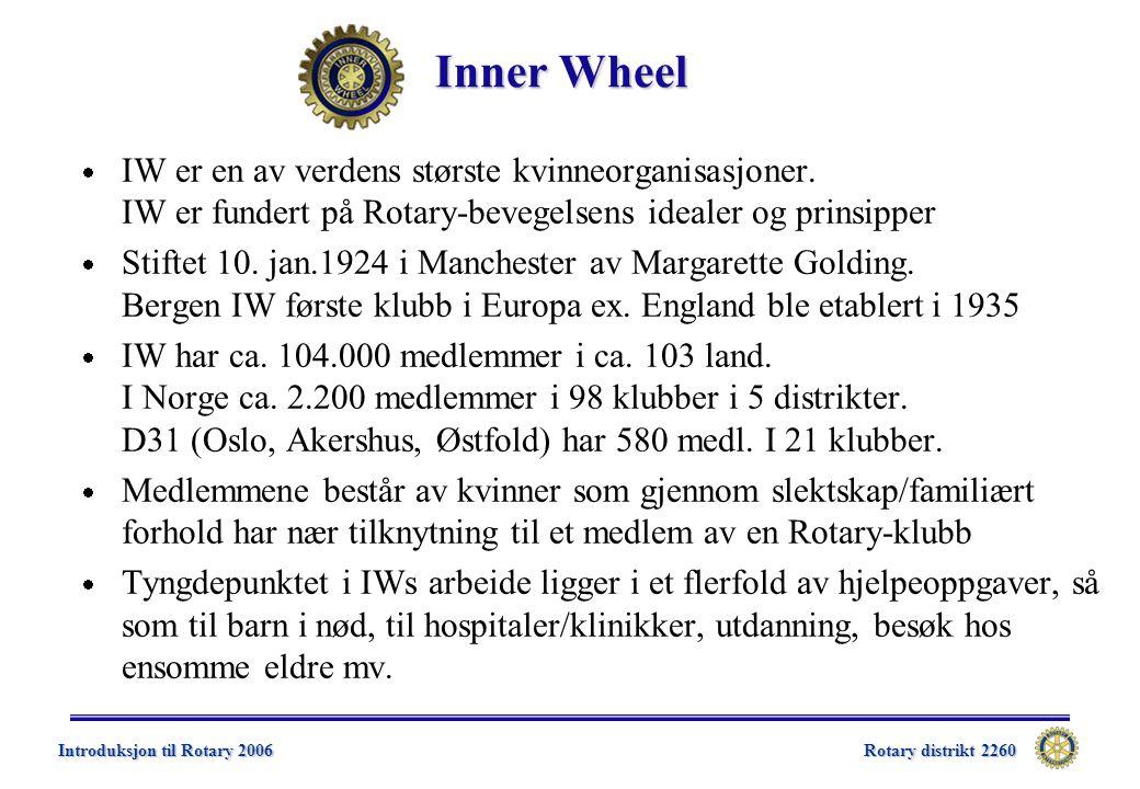 Rotary distrikt 2260 Introduksjon til Rotary 2006 Inner Wheel  IW er en av verdens største kvinneorganisasjoner.