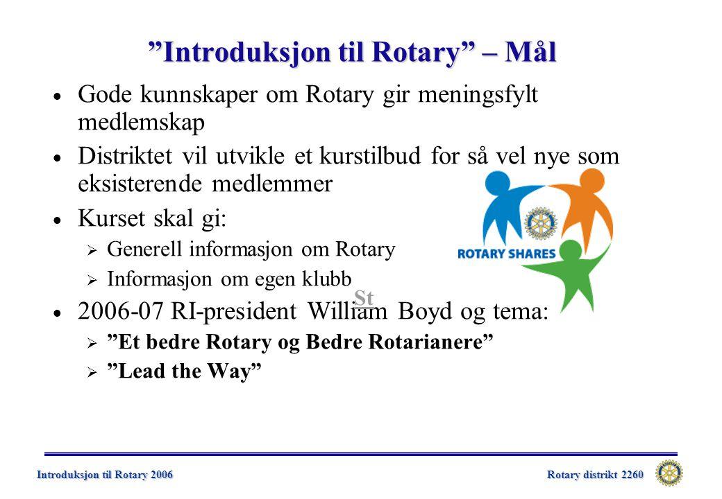 Rotary distrikt 2260 Introduksjon til Rotary 2006  Litt historikk  Om Rotary og Rotarys organisasjon  Inner Wheel  Rotaract  Klassifikasjonsprinsippet  Rotary Foundation - RF  Rotary på web  Litt om økonomi Innhold