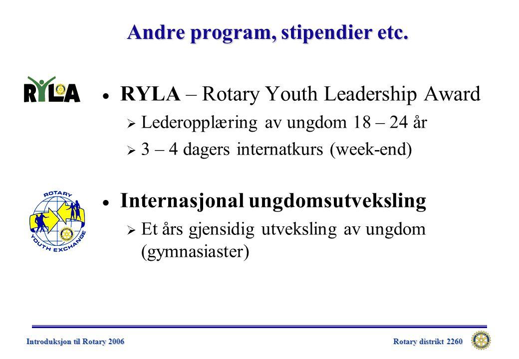 Rotary distrikt 2260 Introduksjon til Rotary 2006 Andre program, stipendier etc.  RYLA – Rotary Youth Leadership Award  Lederopplæring av ungdom 18