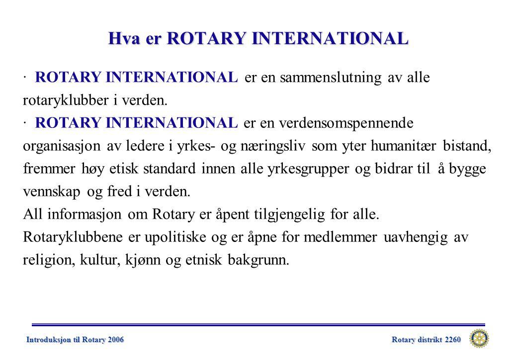 Rotary distrikt 2260 Introduksjon til Rotary 2006 Ny organisasjonsstruktur – Klubbens lederplan  Formålet med Klubbens lederplan er å styrke Rotary på klubbnivå ved å tilby et administrativt rammeverk for aktive rotaryklubber  Anbefalt administrativ struktur for rotaryklubbene i D2300, med virkning fom.