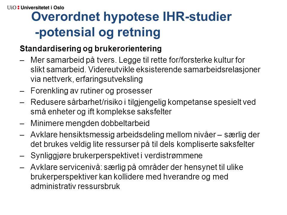 Overordnet hypotese IHR-studier -potensial og retning Standardisering og brukerorientering –Mer samarbeid på tvers. Legge til rette for/forsterke kult