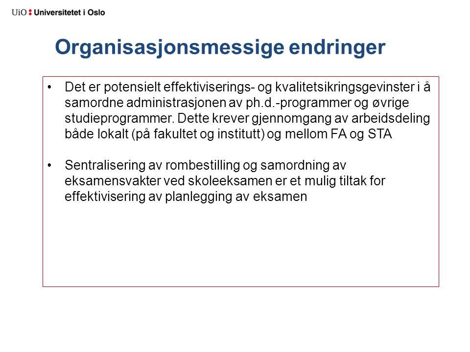 Organisasjonsmessige endringer Det er potensielt effektiviserings- og kvalitetsikringsgevinster i å samordne administrasjonen av ph.d.-programmer og øvrige studieprogrammer.
