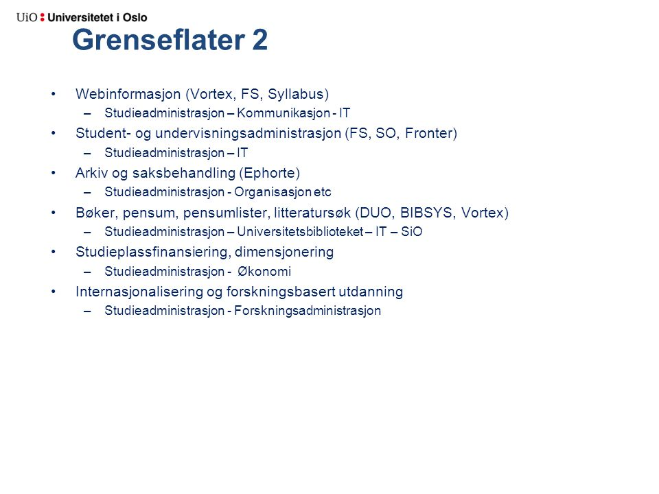 Grenseflater 2 Webinformasjon (Vortex, FS, Syllabus) –Studieadministrasjon – Kommunikasjon - IT Student- og undervisningsadministrasjon (FS, SO, Front