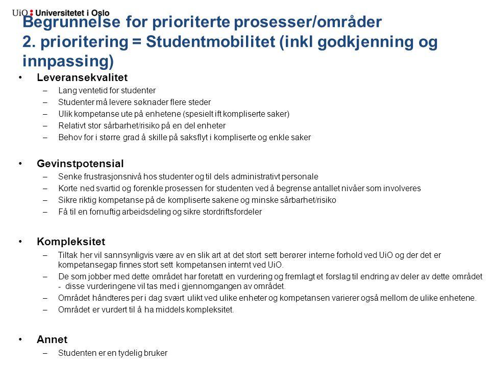 Begrunnelse for prioriterte prosesser/områder 2. prioritering = Studentmobilitet (inkl godkjenning og innpassing) Leveransekvalitet –Lang ventetid for