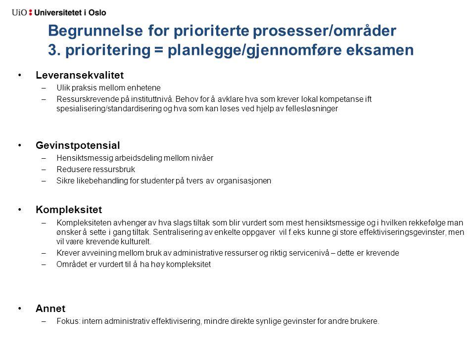 Begrunnelse for prioriterte prosesser/områder 3. prioritering = planlegge/gjennomføre eksamen Leveransekvalitet –Ulik praksis mellom enhetene –Ressurs