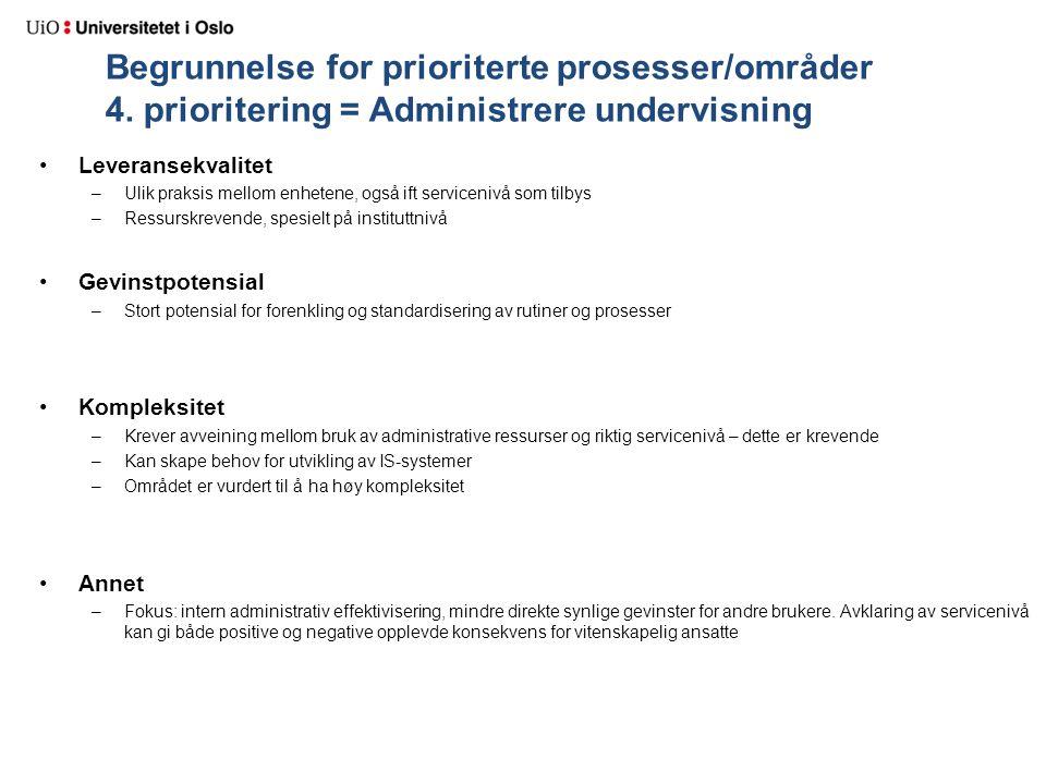 Begrunnelse for prioriterte prosesser/områder 4. prioritering = Administrere undervisning Leveransekvalitet –Ulik praksis mellom enhetene, også ift se