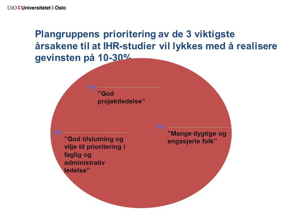 """Plangruppens prioritering av de 3 viktigste årsakene til at IHR-studier vil lykkes med å realisere gevinsten på 10-30% """"God projektledelse"""" """"God tilsl"""