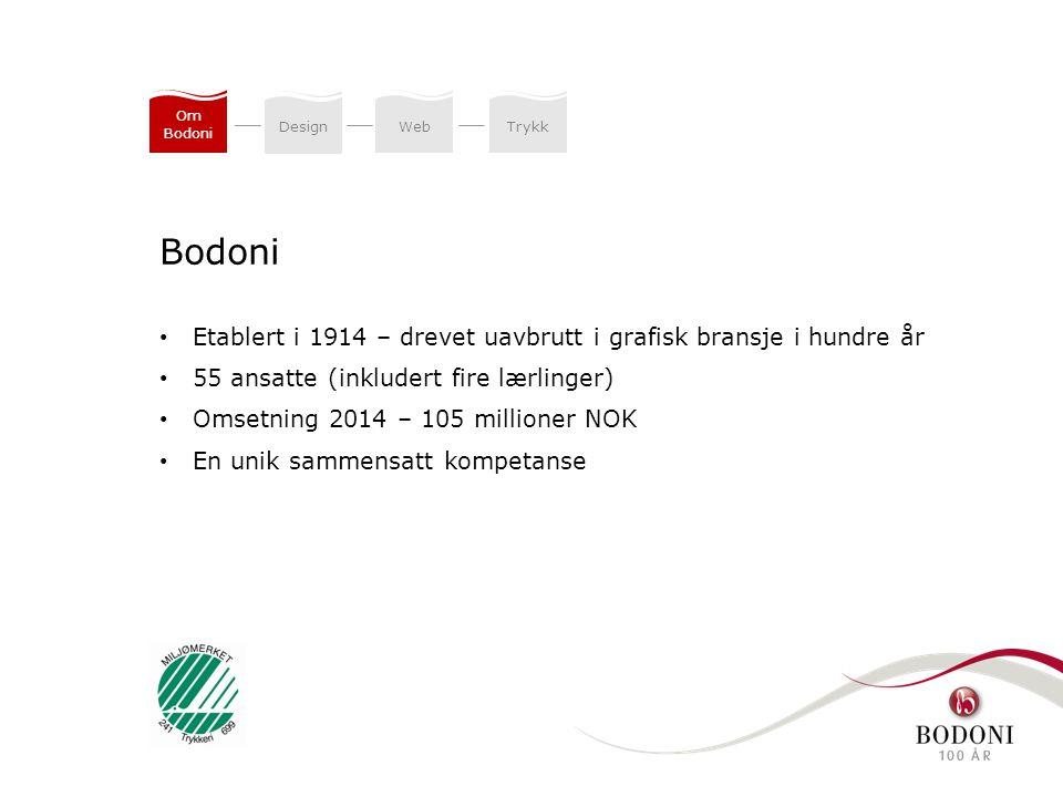 DesignWeb Trykk Om Bodoni Etablert i 1914 – drevet uavbrutt i grafisk bransje i hundre år 55 ansatte (inkludert fire lærlinger) Omsetning 2014 – 105 m