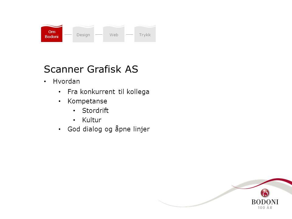 DesignWeb Trykk Om Bodoni Scanner Grafisk AS Hvordan Fra konkurrent til kollega Kompetanse Stordrift Kultur God dialog og åpne linjer