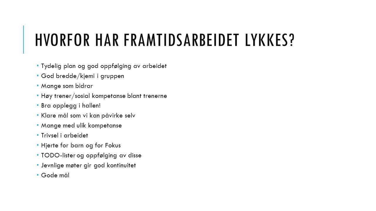 HVORFOR HAR FRAMTIDSARBEIDET LYKKES.
