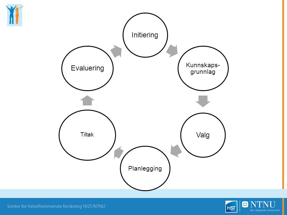 Initiering Kunnskaps- grunnlag Valg Planlegging Tiltak Evaluering