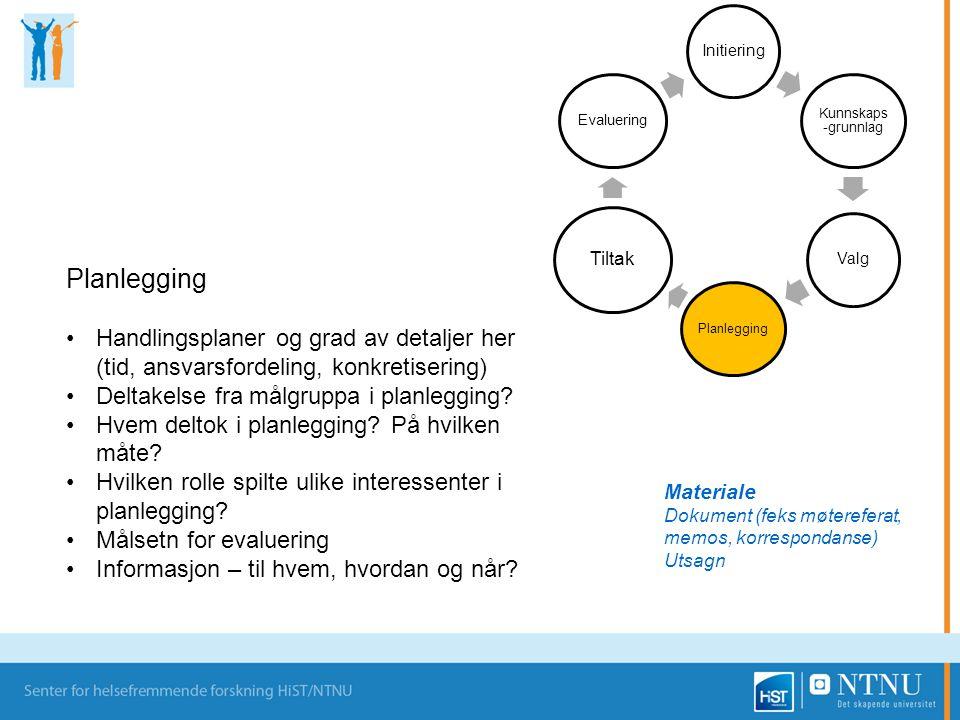 Initiering Kunnskaps -grunnlag Valg Planlegging Tiltak Evaluering Planlegging Handlingsplaner og grad av detaljer her (tid, ansvarsfordeling, konkreti
