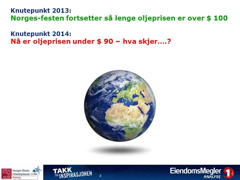 Knutepunkt 2013: Norges-festen fortsetter så lenge oljeprisen er over $ 100 Knutepunkt 2014: Nå er oljeprisen under $ 90 – hva skjer….? 3